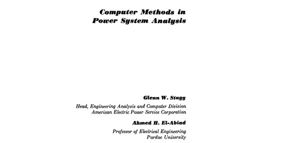 Product picture Computer methods in power systems analysis Stagg- El- Abiad